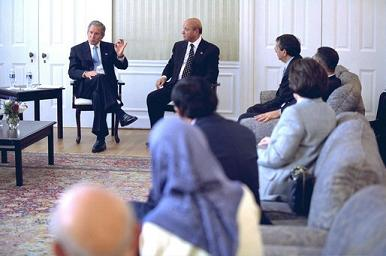 The last time that President Bush consulted American Muslims was  on September 10, 2002 in the Afghan Embassy.